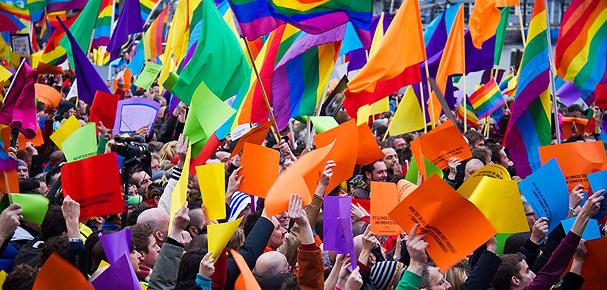 Demonstratie tegen Hongaarse anti-LHBTI wet