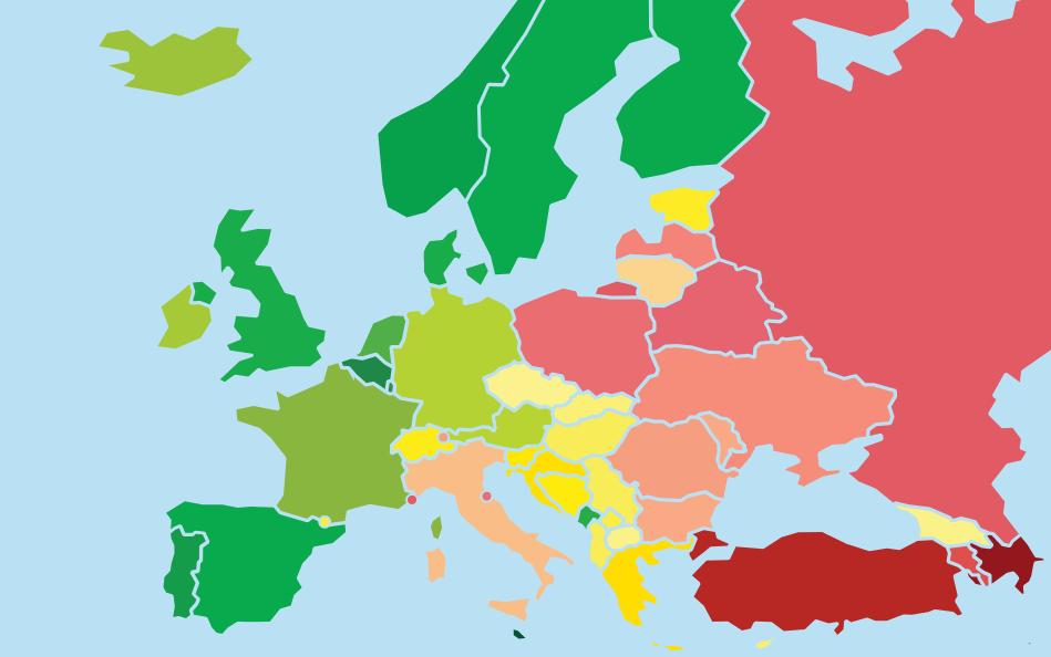 Nederland niet in de Europese top 10 LHBTI-rechten